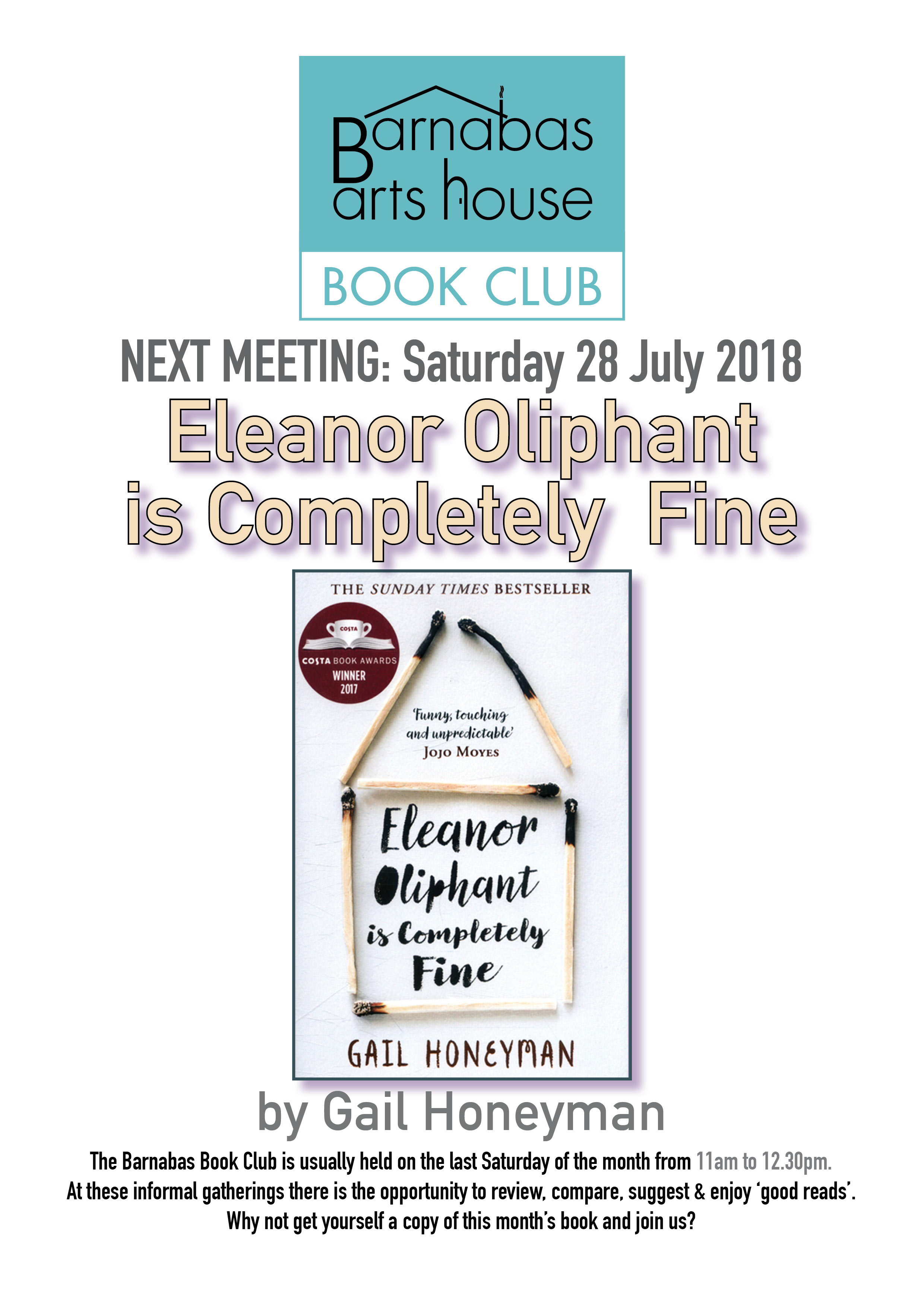 Barnabas Book Club-Eleanor Oliphant is Completely Fine @ Barnabas Arts House | Wales | United Kingdom