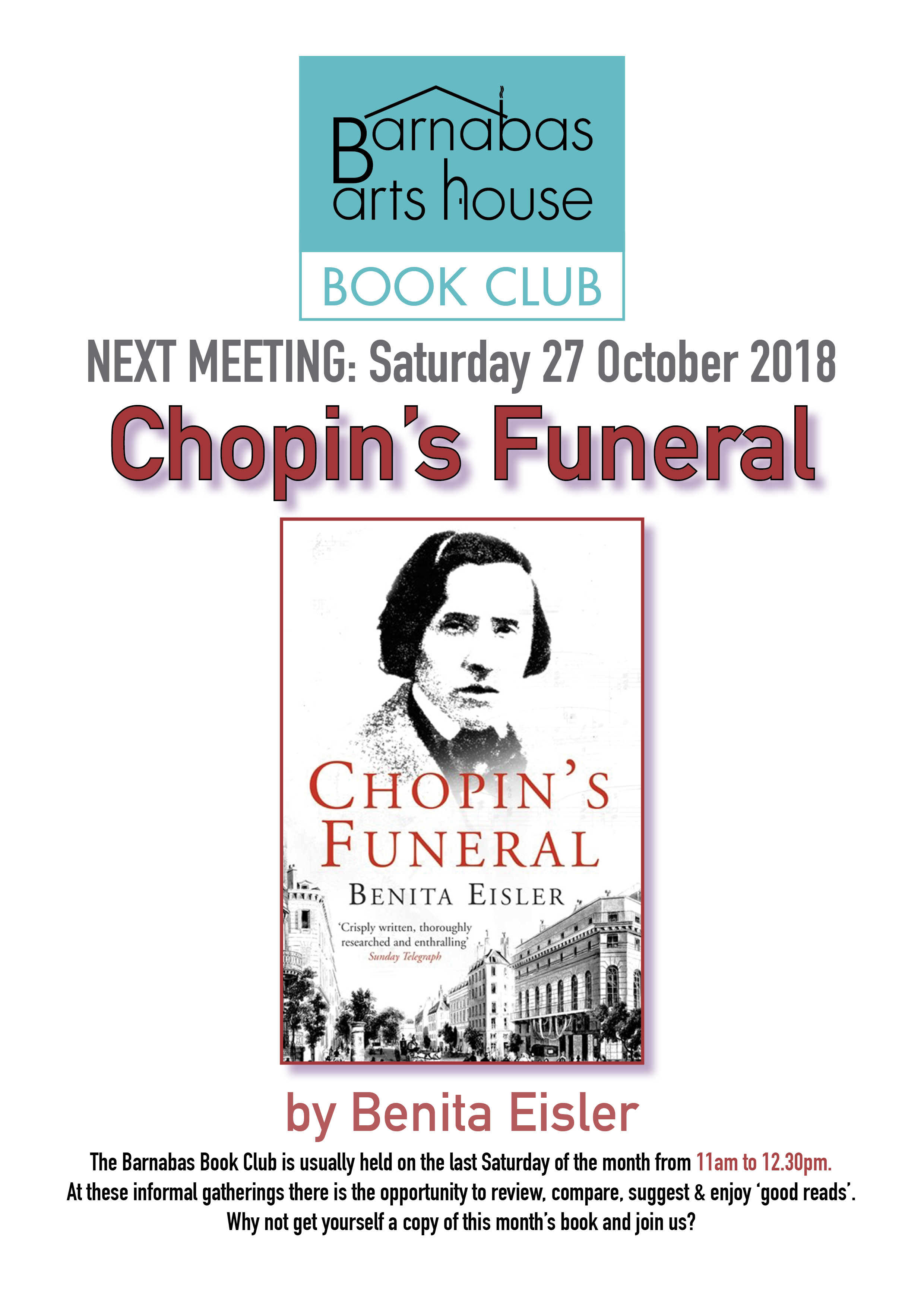Barnabas Book Club-Chopin's Funeral @ Barnabas Arts House | Wales | United Kingdom