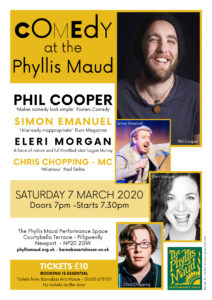 Comedy at the Phyllis Maud @ The Phyllis Maud Perfomance Space